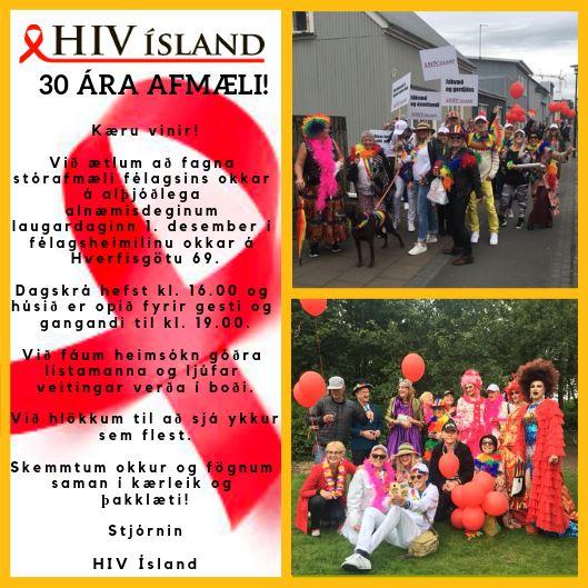 Boðskort á 30 ára afmælishátíð HIV Ísland